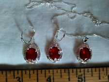 """925 STAMPED RED CAB JEWELRY SET NECKLACE 19"""" PENDANT, EARRINGS PIERCED ALL 925"""