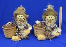 Scarecrow Wicker Basket Planter Pair Set 2 Thanksgiving Fall Autumn Plastic Line