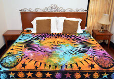 Psychedelic Tie Dye Sun Moon Indian Hippie Tapestry Dorm Bedspread Throw Blanket