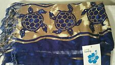 HAWAIIAN SARONG SEA TURTLES AND HIBISCUS BATHING SUIT COVER UP WRAP NWT