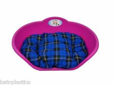 Heavy Duty FUCHSIA PINK Pet Bed With BLUE TARTAN Cushion UK MADE Dog Cat Basket