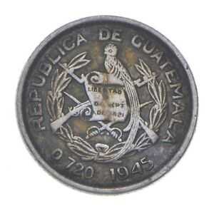 SILVER Roughly Size of Dime 1945 Guatemala 5 Centavos World Silver Coin *555