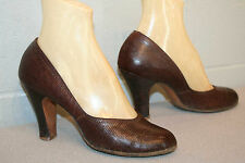 "7 VTG 40s WWII CUBAN 3 3/4"" HIGH HEEL BROWN LEATHER REPTILE ROUND TOE SWING Shoe"