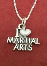 Sterling Silver Martial Arts Necklace incl solid 925 pendant and chain love