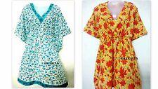 Indian Hand Block Print Set Of 2 Beach Wear Bikini Cover Up Night Caftan Dress
