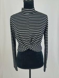 Topshop women 12 striped front twist crop top long sleeve