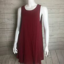 4SIENNA Women Sleeveless Deep Red Tent Dress String Tie Deep U Backless Scoop
