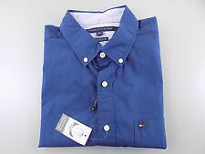 TOMMY HILFIGER $85 Blue L x Short Sleeve Classic Fit CASUAL MEN DRESS SHIRT L11