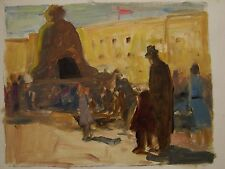 Russian Ukrainian Soviet Oil Painting realism Tsar Bell Kremlin Moscow excursion
