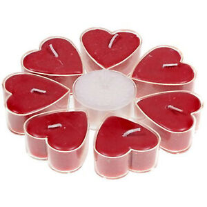 FAIR TRADE HEART SHAPED TEALIGHT 7+1 ROUND CANDLES - ROSE FRAGRANCE-4*2 CM