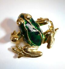 """Vintage Green Frog Brooch / Pin with Rhinestone Eyes Gold Tone with Enamel 1.5"""""""