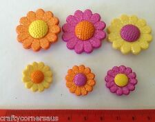 Flower Shaped Buttons Large Orange Pink Novelty Buttons by Dress It Up 4884