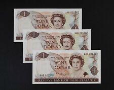 New Zealand 1985-1989 ,1 Dollars GEM UNC Consecutive Number x 3