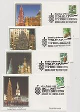 US 2010 FDC Holiday Evergreens 4 Covers All Unaddressed Fleetwood Cachets! |