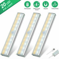 20 LED Wireless Under Cabinet Rechargeable Light USB Motion Sensor Closet Light~