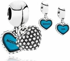 💎Mother and son Duo Twin mum blue Heart love Dangle Pendant/Charm set+gift box