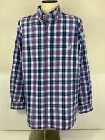 Chaps Mens Size XL Long Sleeve Button Down Shirt Easy Care Blue Purple Plaid XL