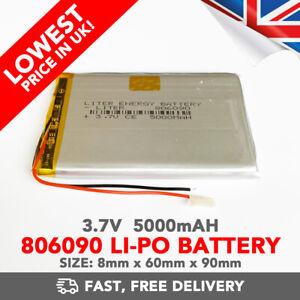 3.7V 5000mAh Li-Po Battery (806090) Rechargeable High Capacity Tablet PC +PCM6