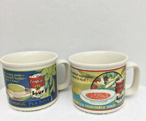 2 Campbells Soup  Mugs VEGETABLE & PEA Vintage 1993 Cups By Westwood Collectible