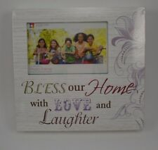 Wood Block Sign Picture Frame Bless our Home with Love & Laughter Photo 4x6 #66