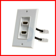 HDMI Wall Plate with 4 inches Extension Cable 2 HDMI Port Wall Plate
