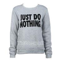 Womens Casual Tees Shirt Slogan Tops Jumper Hoodie Long Sleeve Sweatshirt Blouse