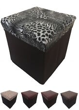 NEW OTTOMAN FAUX LEATHER DESIGN STOOL FOLDING SEAT CHEST FOLDABLE STORAGEBOX