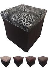 NUOVO ottomano Faux Leather sgabello design pieghevole sedile petto PIEGHEVOLE Storagebox