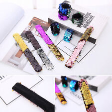 Bracelet Snap Wristband Jewelry Gifts Giltter Womens Reversible Mermaid Sequin