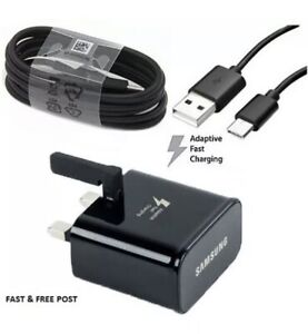Samsung Original Black UK Fast - USB Phone UK Charger Adaptor With Type-C Cable