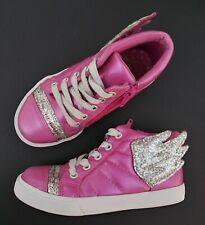 Girls Hot Pink Silver Glitter Cat And Jack Wing Shoes Size 11