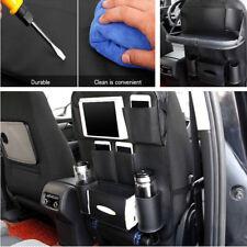 Black Leather Car Seat Back Bag Folding Table Cup iPad Phone Holder Organizer