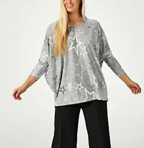 Frank Usher Star V Neck Top Pullover Tunic in Silver Lightweight New Size L/XL