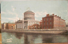Irish Postcard FOUR COURTS Buildings River Liffey Dublin Ireland Emerald Series