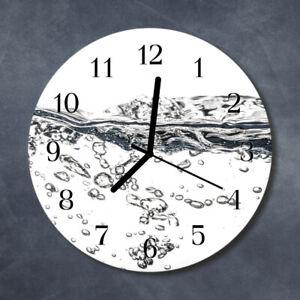 Tulup Reloj de pared de cristal cocina silencioso redondo 30 cm Agua Naturaleza