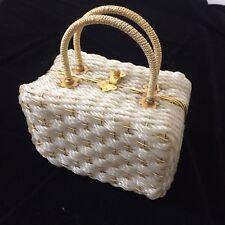 Vtg 50's Delill GOLD Metal Woven Hand Bag BOX Purse BASKET WEAVE Satchel ITALY