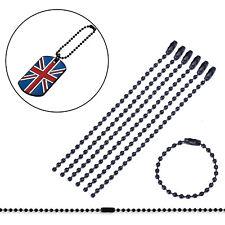 100 Pcs Black Metal Tag 10cm Long Connector Clasp Bead Ball Chain Keychain