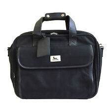 LANCEL BLACK LEATHER & BALLISTIC NYLON LUGGAGE DOCUMENT BAG