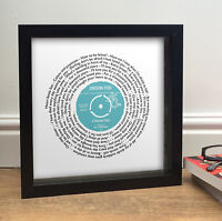 Personalised Wedding Anniversary Gift VINYL RECORD LABEL & LYRICS Print ANY SONG