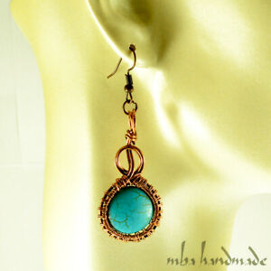 Turquoise Drop Dangle Earrings Copper Wire Wrapped Natural Gemstone