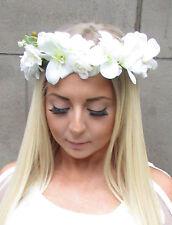 Ivory White Cream Rose Flower Headband Hair Crown Garland Festival Wreath S34