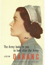 WW2 ARMY QUEEN ALEXANDRA'S ROYAL ARMY NURSING CORPS QARANC POSTER NEW A4 PRINT