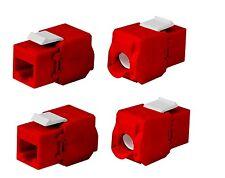 4x Keystone Jack Cat6A RJ45 Ethernet Network Module Toolfree 180 Degree Red