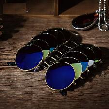 Men Women Retro Vintage Round Mirrored Sunglasses Eyewear Metal Frame Glasses