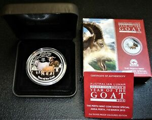 PROOF 2015 Silver 2 oz $2 Colored Year of the Goat Lunar Series II Coin, LOW mtg