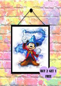 BUY 2 GET 1 FREE Disney Fantasia Mickey Mouse Watercolour Print