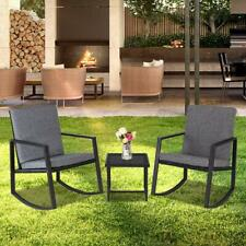 3 PCS Patio Rattan Wicker Furniture Set Comfortable Rocking Chair Coffee Table
