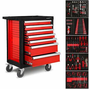 EBERTH Chariot d'atelier à outils servante caisse 7 tiroirs complète avec outils