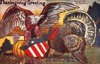 Thanksgiving Postcard Patriotic Shield, Turkey, Eagle, Pumpkin~114618