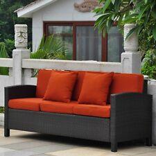 International Caravan Barcelona Three Seat Sofa w/Cushions, Black
